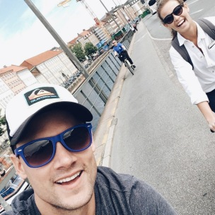 Veronica Assis and Camilo Calderon biking around Copenhagen.