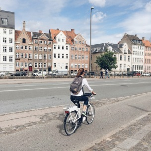 Veronica Assis biking around Copenhagen
