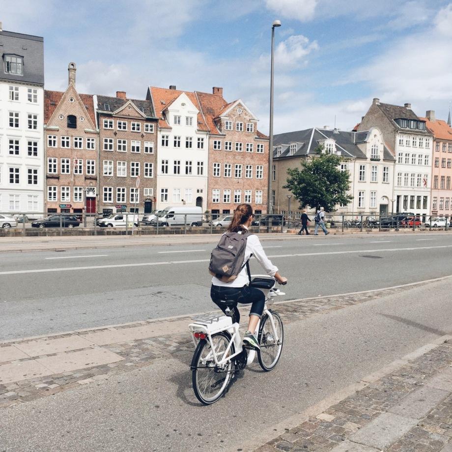 Veronica Assis biking around Copenhagen